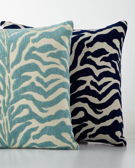 Aqua Zebra Print Outdoor Pillow