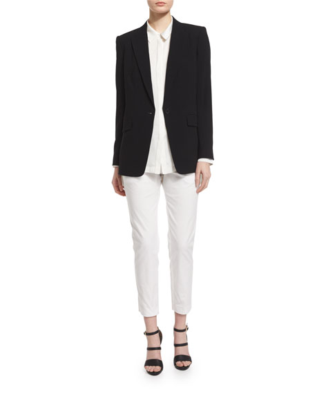 DKNYLong-Sleeve Crepe Envelope-Jacket, Black