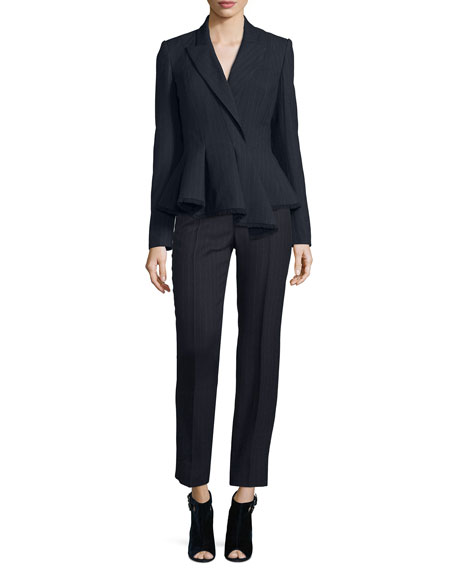 Carolina Herrera Chalk-Striped Peplum Jacket, Navy