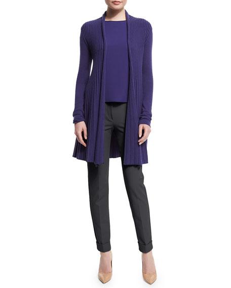 Armani Collezioni Open-Front Pleated Cardigan, Imperial Purple