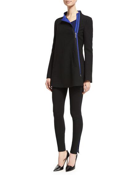 Armani CollezioniAsymmetric-Zip Ottoman Swing Coat, Black