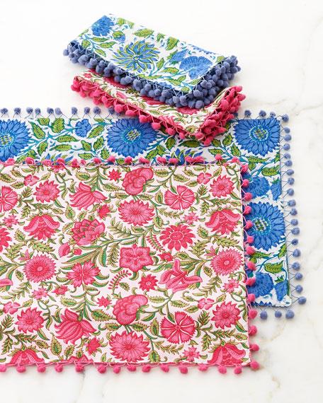 Divine Designs Floral-Print Placemats with Pom Poms, Set
