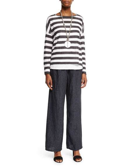 Eileen Fisher Wide Striped Box Top, Bark/White