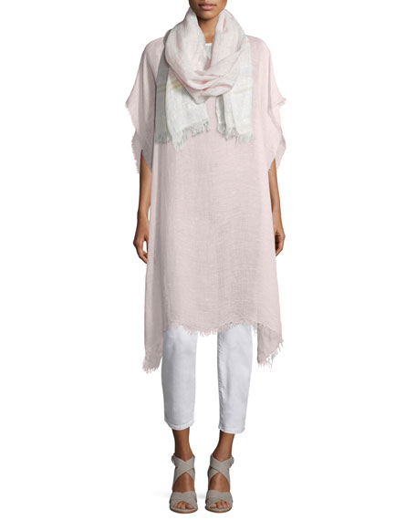 Eileen Fisher Short-Sleeve Airy Linen Maltinto Long Poncho