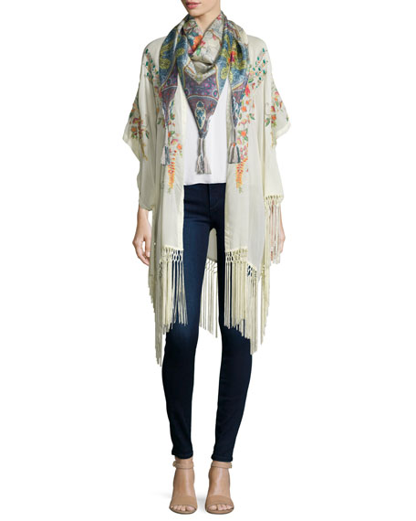 Johnny Was Collection Peacock Kimono with Fringe Trim