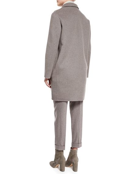 Double-Cashmere Vest W/Mink Front, Silver Myrtle/Shadow