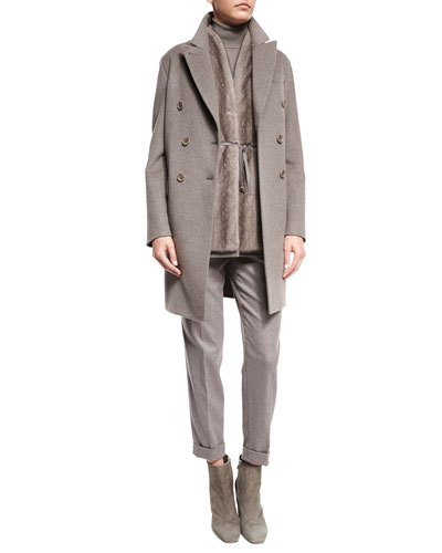 Barret Double-Breasted Cashmere Coat, Fur-Front Vest, Cashmere Sweater & Jari Mid-Rise Ankle Pants