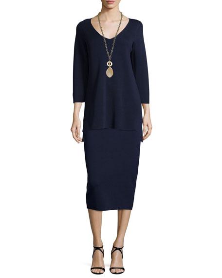 Eileen Fisher 3/4-Sleeve V-Neck Interlock Tunic, Midnight