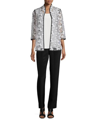 Magnolia Organza 3/4-Sleeve Jacket, Long Silk Crepe Tank & Silk Crepe Straight-Leg Pants