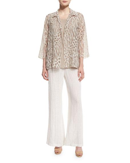 Caroline Rose 3/4-Sleeve Animal-Print Burnout Jacket, Natural