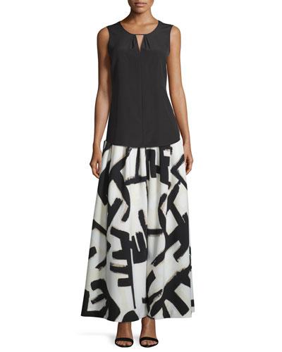 Missy Sleeveless Keyhole Top & Graphic-Print Pleated Maxi Skirt
