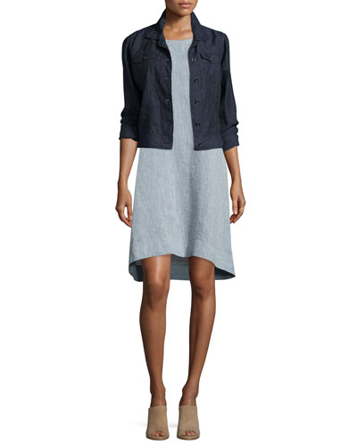 Organic Linen Jean Jacket & Sleeveless Chambray Linen Dress, Plus Size