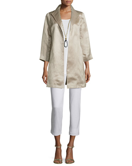 Eileen Fisher High-Collar Satin Coat, Natural, Petite