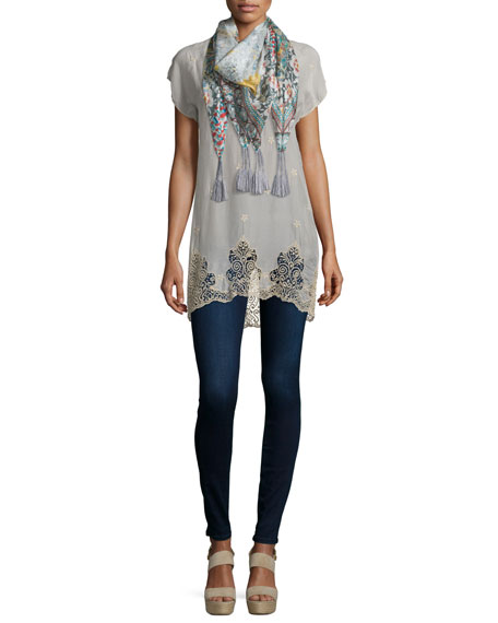 Johnny Was Collection Seal Short-Sleeve Long Lace-Hem Tunic,