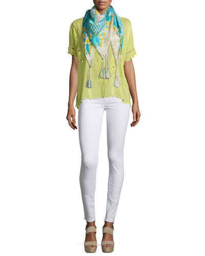 Flo Short-Sleeve Embroidered Top & Echo Printed Silk Scarf, Petite
