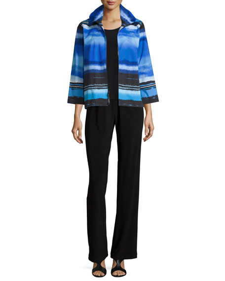 Caroline Rose Mad About Blue Zip-Front Jacket, Petite