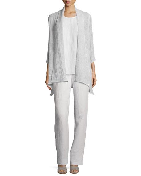 Caroline Rose Crinkled Gauze Jacket, Cloud, Plus Size