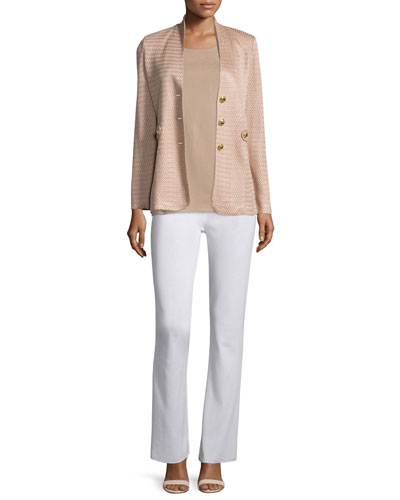 Textured Gold-Button Jacket, Crewneck Tank & Boot-Cut Knit Pants, Petite
