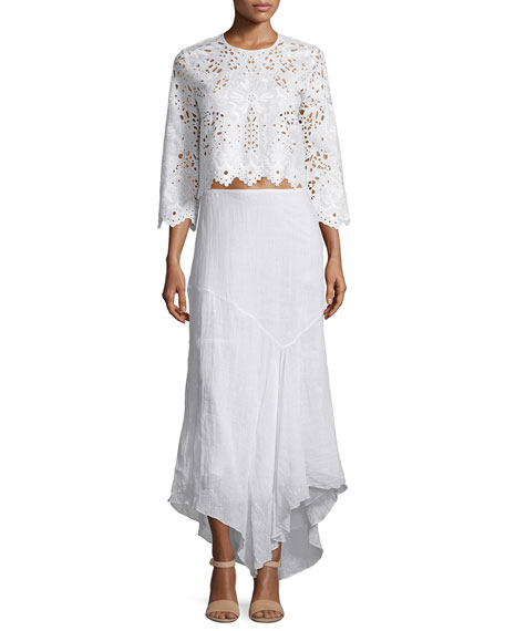 Theory Brizabela Embroidered Linen Crop Top