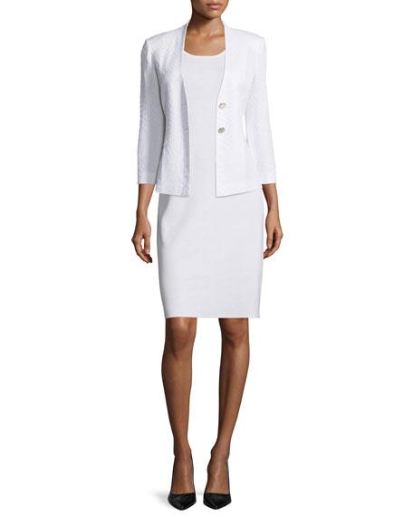 Misook Textured 3/4-Sleeve Two-Button Jacket, White