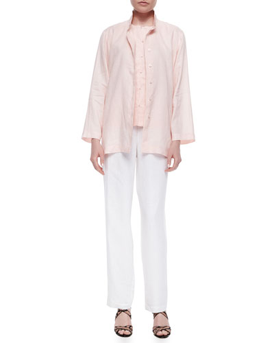 Linen Button-Front Jacket, Linen Button-Front Shell & Straight-Leg Linen Pants, Petite