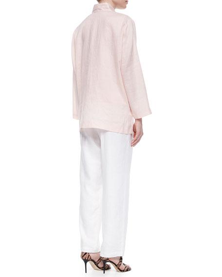 Linen Button-Front Jacket, Plus Size