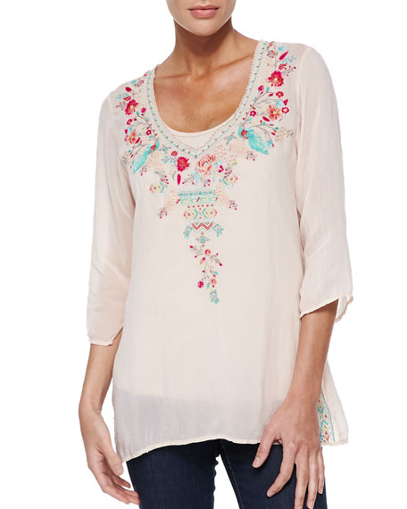 Johnny Was Collection Priscilla Embroidered Tunic, Petite