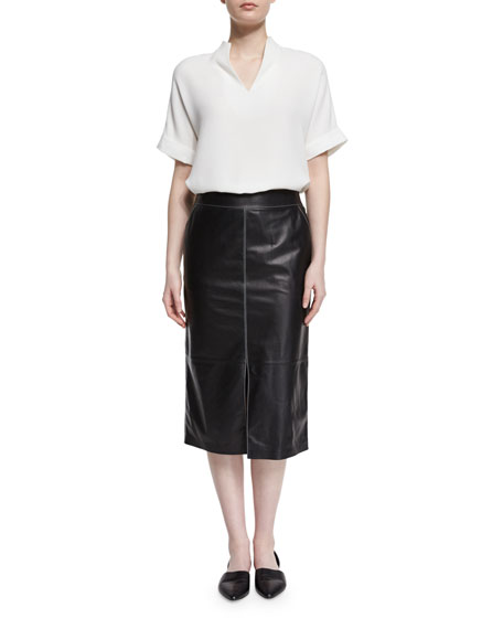 Lafayette 148 New York Josie Short-Sleeve Silk Blouse