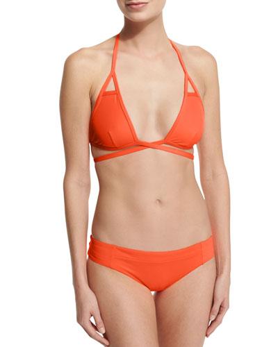 Serra Solid Keyhole Wrap Swim Top & Adriana Hipster Bikini Swim Bottom