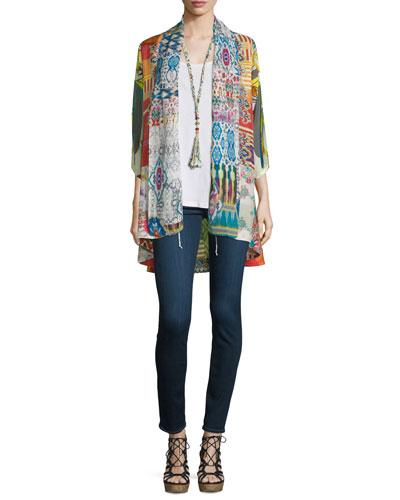 Mix-Print Kimono Jacket, Tassel Necklace & Scoop-Neck Tank