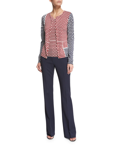 Escada Button-Front Honeycomb Colorblock Cardigan, Multi Colors