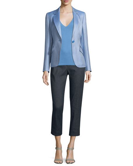 EscadaDouble Flap-Pocket One-Button Blazer, Blue