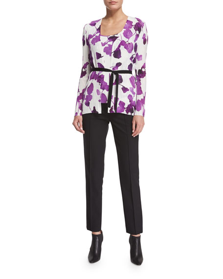 EscadaLong-Sleeve Orchid-Print Belted Cardigan, Multi Colors