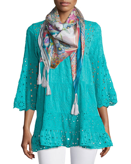 Johnny Was Collection Bell-Sleeve Eyelet Tiered Tunic, Plus
