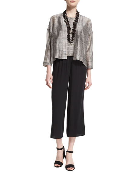 Eileen Fisher Streaked Hand-Painted Cropped Jacket