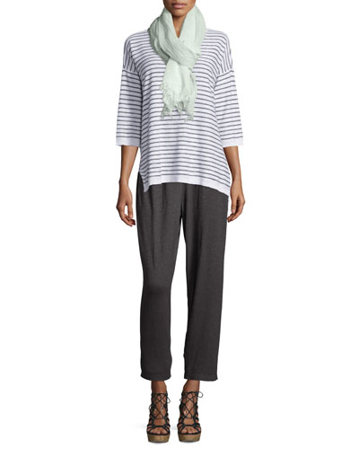 Slub Striped Tunic, Maltinto Crosshatch Gauzy Scarf & Hemp Twist Ankle Pants