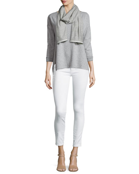 Eileen Fisher Long-Sleeve Double-Knit Top W/ Striped Facing