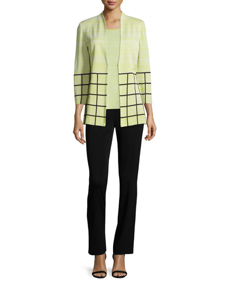 Misook 3/4-Sleeve Melange Jacket W/ Grid Border