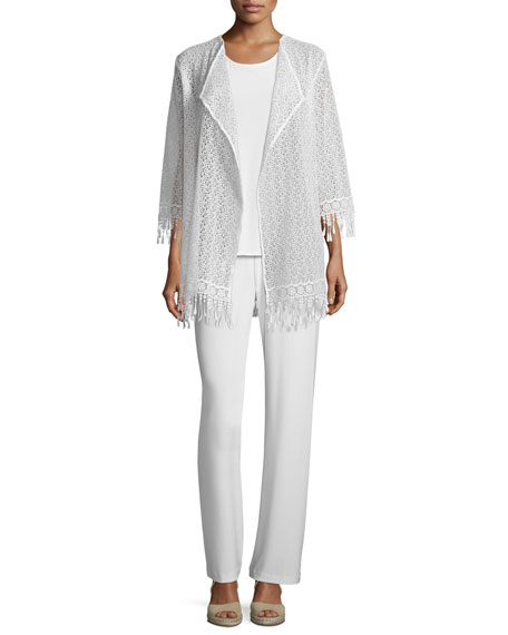 Caroline RoseLong Lace Jacket W/ Fringe Trim