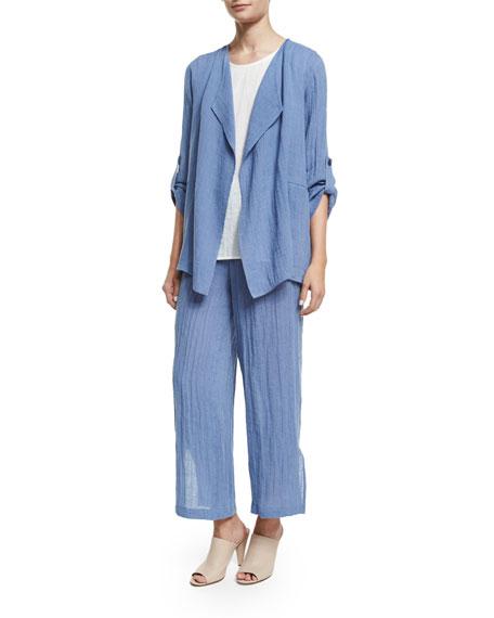 Caroline Rose Crinkled Draped Linen Jacket, Blue Mist