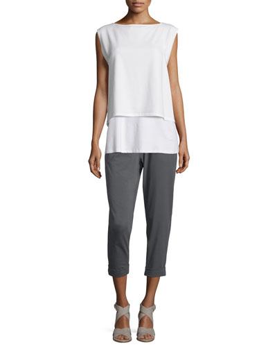 Cap-Sleeve Boxy Jersey Shell, Lightweight Jersey Tank & Slouchy Stretch Jersey Pants, Petite