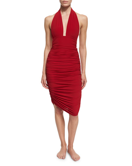 Norma Kamali Shirred Knee-Length Swim Skirt, Red