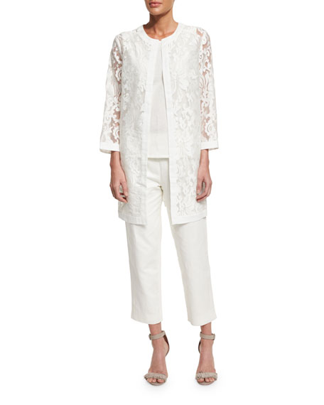 Neiman Marcus Sleeveless Linen-Blend Shell