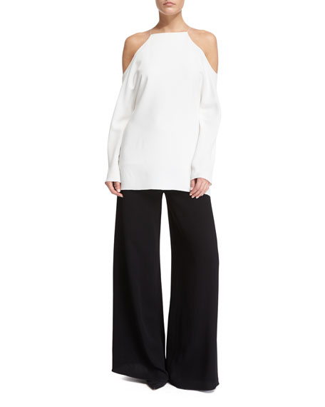 THE ROW Krauss Long-Sleeve Cold-Shoulder Top, Ivory