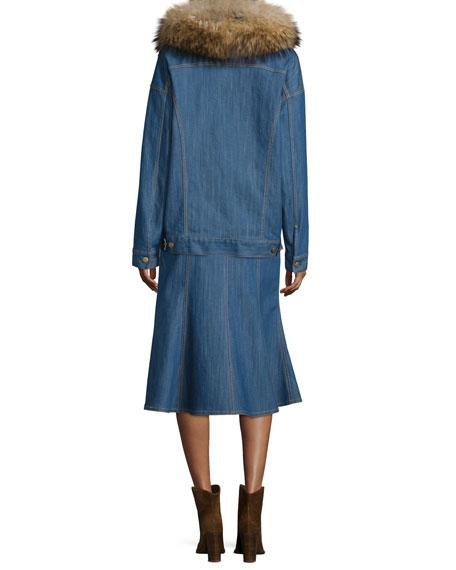 Fur-Collar Button-Front Denim Jacket, Blue Indigo
