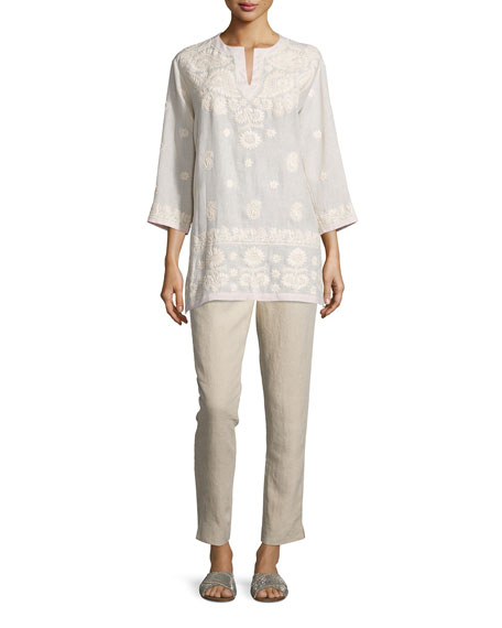 Neiman Marcus 3/4-Sleeve Embroidered Tunic, Pink