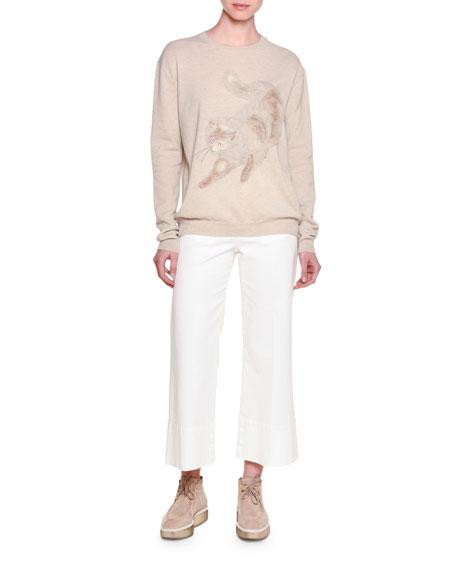 Stella McCartneyLong-Sleeve Cat-Embroidered Sweater, Beige