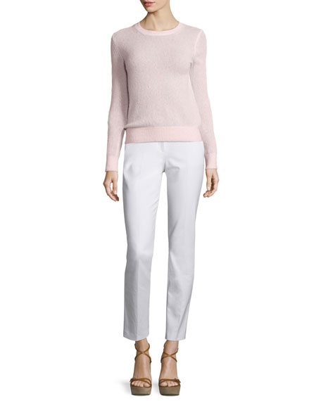 Michael Kors Collection Long-Sleeve Jewel-Neck Sweater, Blush