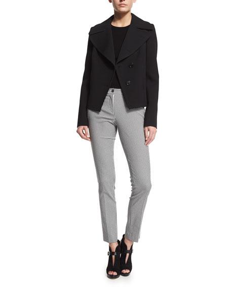 Michael Kors Collection Oversized-Collar Short Peacoat, Black
