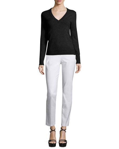 Michael Kors V-Neck Slash-Back Cashmere Sweater, Black